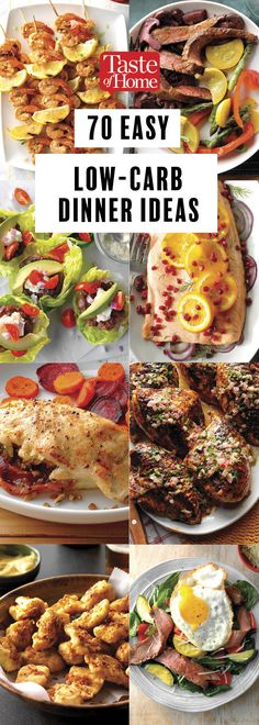 70 Easy Low-Carb Dinner Ideas Healthy and Delicious Cooking 70 Easy Low-Carb Dinner Ideas Cutting carbs? Try these easy low carb recipes packed with flavor and fresh ingredients. Heart Healthy Recipes, Healthy Foods To Eat, Healthy Dinner Recipes, Low Carb Recipes, Diet Recipes, Vegetarian Recipes, Healthy Eating, Diabetic Foods, Recipes