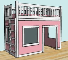 diy loft bed plans free | You can find the plans for this playroom/bed here .
