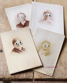 Vintage pictures with googly eyes added!