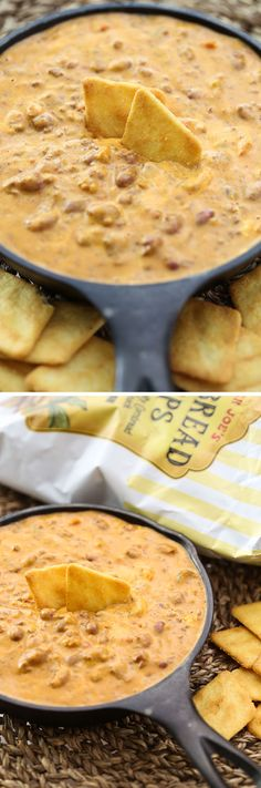 An easy, quick recipe for 2-Ingredient Chili Cheese Dip that uses two Trader Joe's products! Throw this dip together 5 minutes before the football game!