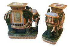 Vintage Vietnamese Porcelain Elephant Garden Stools - A Pair on Chairish.com