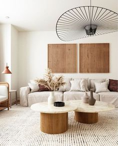 simple modern living room design with all neutral tones // light tan sofa
