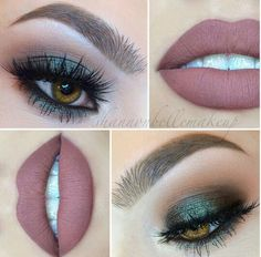 Moss green eyes with mauve lips.Perfect fall makeup