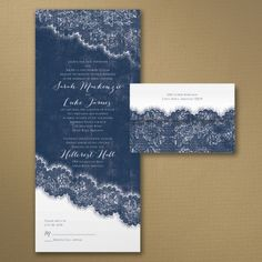 Blue and White Wedding Ideas - Love the Lace - Seal 'n Send Invitation | Occasions In Print, LLC (Invitation Link - http://occasionsinprint.carlsoncraft.com/Wedding/Wedding-Invitations/3254-TWS36215-Love-the-Lace--Seal-n-Send-Invitation.pro)