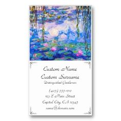SOLD! - Water Lilies Claude Monet Business Card Templates