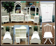 Available at our Livernois Store Location - (313) 345-0884.   Fabulous Complete Lexington Collectors 8-Piece White Double Twin Bedroom Set in Exceptional Condition.  Premium quality Lexington furniture is American made with the most careful attention to detail.  This delightful set offers everything that your child could possibly require, including a full length mirrored vanity and hutch desk.  Everything is in excellent condition.  The set even includes a second twin platform bed frame…