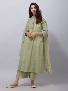 Green Zari Embroidered Cambric Cotton Kurta with Rogan Printed Ejar Pants and Chiffon Dupatta- Set of 3 Pakistani Fashion Casual, Indian Fashion Dresses, Dress Indian Style, Pakistani Outfits, Indian Outfits, Indian Attire, Indian Wear, Stylish Dress Designs, Designs For Dresses