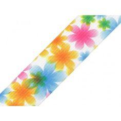 Gummiband mit Aufdruck mit Pastellblumen 25 mm Band, Accessories, Fabrics, Sash, Bands, Tape, Conveyor Belt