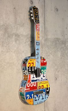 Awesome guitars made out of license plates.  Found in Chicago on Michigan Ave.