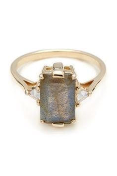 Anna Sheffield Labradorite Bea Engagement Ring, $3,500; annasheffield.com Courtesy of Companies  - ELLE.com