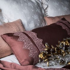 Satin Lumbar Pillow with Lace by Bella Notte Linens