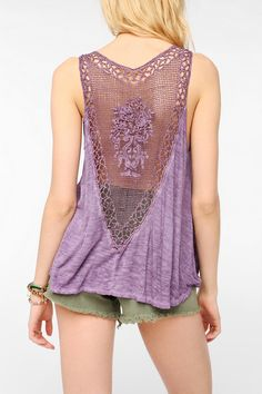 Staring At Stars V-Back Crochet Tank Top - Urban Outfitters