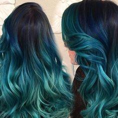 "@4everlox on Instagram: ""Teal Hair Love  #tealhair #bluehair #haircrush #longhair #colorfulhair #hairstyles #curls #beachwaves #ombre #sombre Photo cred:…"""