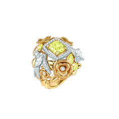 """Chanel - Les Perles de Chanel - """"Envolée Solaire"""" ring in white and yellow gold set with a 2-carat radianti-cut yellow diamond, 2 marquise-cut white diamonds, 68 brilliant-cut white diamonds and 3 pear-cut yellow diamonds"""