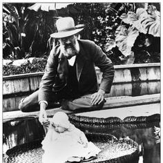 This is a baby on a water lily (Victoria amazonica), but there is no other information—names, year?—in the archives about this photograph.    Any suggestions?    Source: The New York Botanical Garden's historical photographs, in the collections of The LuEsther T. Mertz Library.