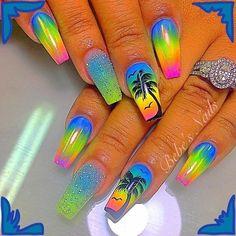 Tropical coffin nails & shiny nails & green yellow blue coffin nails with palm & The post Tropical coffin nails Glow Nails, Shiny Nails, My Nails, Cute Acrylic Nail Designs, Best Acrylic Nails, Bright Nail Designs, Tropical Nail Designs, Beach Nail Designs, Tropical Nail Art