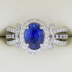 1.60ct NATURAL DIAMOND BLUE SAPPHIRE  14k WHITE  GOLD ENGAGEMENT RING  #sk_jewels #Cocktail #Engagement