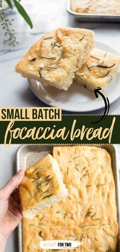 Here's a bread recipe for small batch baking! Light, fluffy, and easy to bite through, this homemade focaccia with rosemary makes the BEST sandwiches. Enjoy as a tasty breakfast idea or dinner for… Quick Bread Recipes, Easy Bread, Easy Dinner Recipes, Easy Recipes, Easy Focaccia Recipe, Wheat Bread Recipe, Easy Meals For Two, Quick Easy Meals, Small Batch Baking