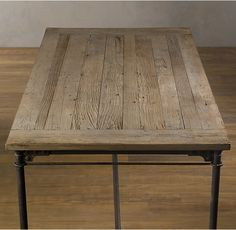 """RH's Flatiron Desk:The pairing of antique solid reclaimed elm doors and cast metal achieves the """"form meets function"""" industrial appeal of Flatiron."""