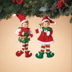 NEW 11 Red and Green Santas Elves Fabric Pixie Christmas Ornaments 2371470 Gingerbread Christmas Tree, Candy Cane Christmas Tree, Christmas Gift Decorations, Christmas Tree Themes, Christmas Store, Christmas Elf, Christmas Crafts, Christmas Ornaments, Holiday Decor