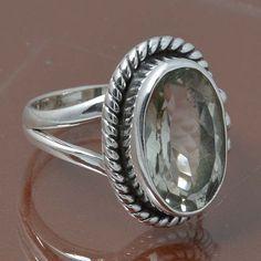 GREEN AMETHYST 925 STERLING SILVER RING JEWELRY 5.39g DJR6965 SIZE 6.5 #Handmade #Ring