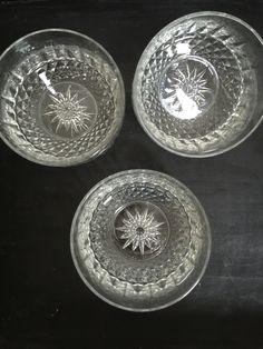 Vintage French Pressed Cut Glass Salad Dessert Fruit Bowls
