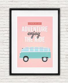 volkswagen van life is an adventure Quote print Pink by handz