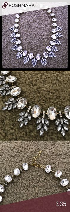 Bling statement necklace Beautiful bling necklace. Dress up or down with this amazing accessory! In excellent condition. Only worn twice. One stone is cracked as shown in last picture. Lulus Jewelry Necklaces