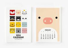 FREE SHIPPING  2014 Calendar Cute Animal 4 x 6 par loopzart sur Etsy, $16.00