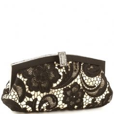 Jessica McClintock V41002 Lace Clutch Bag - Black-Champagne - The Jessica McClintock V041002 Lace Clutch Bag - Black/Champagne is a stylish clutch that can be converted to a small shoulder bag.This fashionable Jessica McClintock purse is made ofhigh quality lace and satin lining.Ithasa metal frame and jeweled clasp closure for shine and is part of Jessica McClintock's designer evening bag collection.