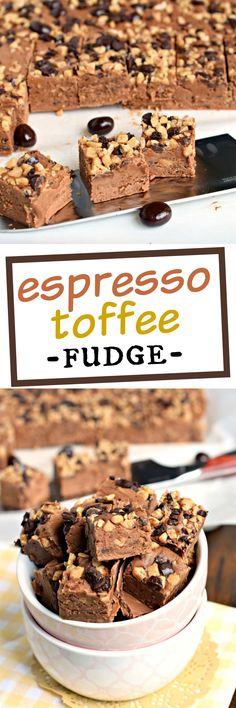 This Espresso Toffee Fudge starts with a creamy, decadent chocolate fudge base…