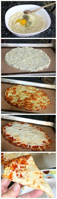 Hardly any calories for the whole pan! 1 large head of cauliflower 2 cloves garlic grated or minced 2 large eggs lightly beaten 4 oz low fat mozzarella cheese teaspoon onion powder salt pepper Raw Food Recipes, Low Carb Recipes, Vegetarian Recipes, Cooking Recipes, Healthy Recipes, Low Fat Dinner Recipes, Clean Recipes, Healthy Cooking, Healthy Snacks