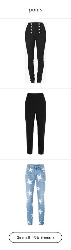 """""""pants"""" by mihai-theodora ❤ liked on Polyvore featuring pants, bottoms, jeans, crepe pants, crepe trousers, balmain pants, sailor trousers, balmain, trousers and high waisted pants"""