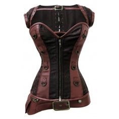 CD-820 - Faux Leather and Cotton Twill Corset with Detachable Belt and Jacket-Made To Order