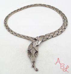 "Taxco Sterling Silver Vintage 925 Unique Snake Link Necklace 17"" (135.4g)-497197 #Taxco #Link"