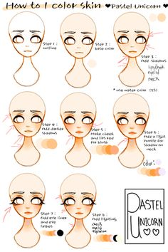 Digital Art Tips Skin Colors Ideas Digital Painting Tutorials, Digital Art Tutorial, Art Tutorials, Digital Paintings, Skin Drawing, Drawing Tips, Drawing Faces, Manga Drawing, Unicorn Illustration