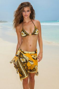 bd94102ade13b Sarong Tying, Sarong Wrap, Saffron Flower, Beachwear Fashion, Bikini Fashion,  Luxury