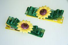 Sunflower Hair Clips - green yellow sun flower bow clippie. $7.00, via Etsy.