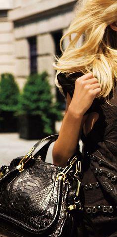 ♕ The Luxury Side of Life ♕ Black Python Chloe Bag