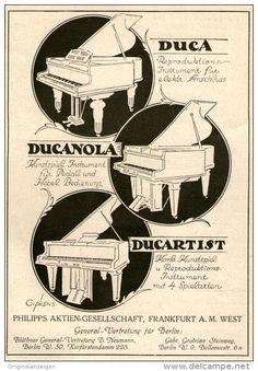 Original-Werbung/ Anzeige 1924 - PHILIPPS ELEKTRISCHE PIANOS / DUCA - DUCANOLA / DUCARTIST - ca. 100 x 150 mm