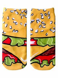 Cartoon Cheeseburger Ankle Socks