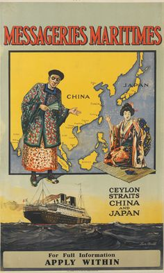 Messageries Maritimes - Ceylon straits China and Japan - illustration : Len Bull -