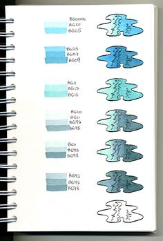Copic Swatch Book - blues / water - bjl There are more colors to blend at the link. Copic Marker Art, Copic Pens, Copics, Prismacolor, Copic Art, Copic Sketch Markers, Copic Markers Tutorial, Copic Ciao, Spectrum Noir Markers