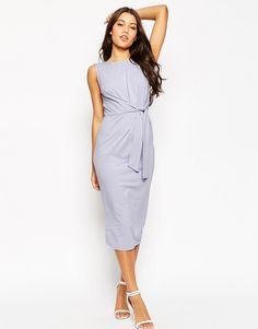 Image 4 of ASOS Tie Side Midi Body-Conscious Dress