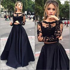 Stunning Sparkly 2 Piece Prom Dresses Evening Gowns Long sleeve Lace Black Prom Dress 2016 Satin Vestidos De Gala Noche Custom