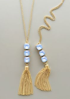 Periwinkle Crystal Tassel Necklace – Pree Brulee