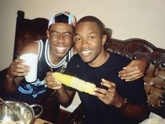 Look at him hanging out with Frank Ocean and a corn on the cob. | 25 Reasons I Really Want To Hang Out With Tyler, The Creator