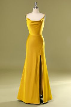 Gala Dresses, Prom Party Dresses, Satin Dresses, Formal Dresses, Dress Party, Yellow Satin Dress, Yellow Formal Dress, Yellow Prom Dresses, Yellow Wedding Dress