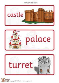 Teachers Pet - Castles & Knights Labels - FREE Classroom Display Resource - EYFS, KS1, KS2, castle, knight, drawbridge, turret, portcullis, medieval