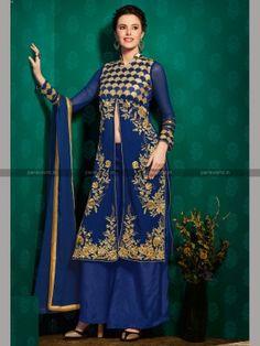 Blue Semi Georgette Elegant Designer Salwar Kameez
